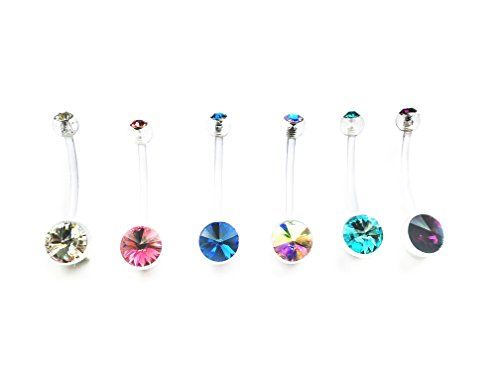 Pregnancy Maternity belly button ring bar pfte flexible double jewel (Pack of 6)