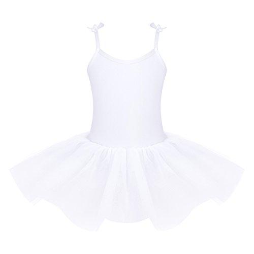 1a8b97556 YiZYiF Vestido de Danza Ballet para Ninas Maillot Gimnasia con Tutú Falda  Tirantes Ajustables Disfraz de Bailarina 4-12 Años Blanco 4 años
