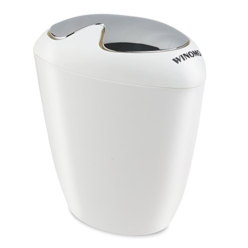 WINOMO Trash Bin Trash Can Oval Trash with Swing Top Lip - 1.75 Gallon (6.5 Liter) Capacity for Bathroom and Office - White