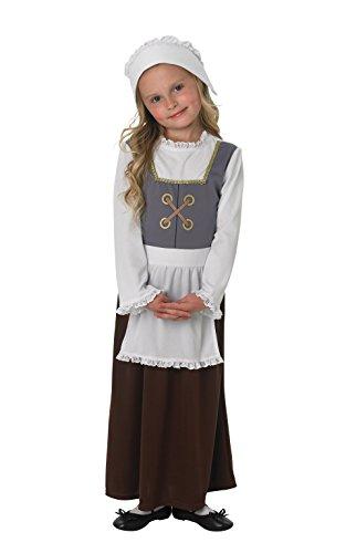 Zubehör Kostüm Schule Mädchen - Fancy Me Mädchen Poor Tudor Viktorianisch Historisch Büchertag Schule Kostüm Kleid Outfit - grau, grau, 13-14 years