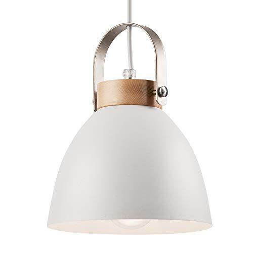 Pendel-Leuchte Decken-Leuchte aus Metall E27 Hänge-Leuchte Vintage Industrieleuchte Wohnzimmerlampe Modern Wohnzimmer mit Kabel Vintagelampe für Wohnzimmer/Küche/Büro/Praxis (Weiss, 1-flammig)