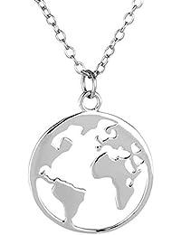 Goldkette Damen mit Welt Anhänger von BRANDLINGER SCHMUCK. Silberkette Damen 925 mit 14K Weissgold oder Gold Plattierung. Länge der Kette 40+5cm (extra). Halskette designed in Deutschland.