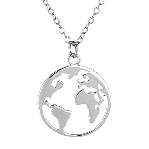 Goldkette Damen mit Welt Anhänger von BRANDLINGER SCHMUCK. Silberkette Damen 925 mit 14K Weissgold oder Gold Plattierung. Länge der Kette 40+5cm (extra). Halskette designed in Deutschland. (Silber)