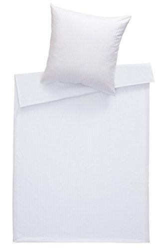 Bettwaesche-mit-Stil Mako Satin Damast Bettwäsche Streifen 8mm weiß in vielen Größen