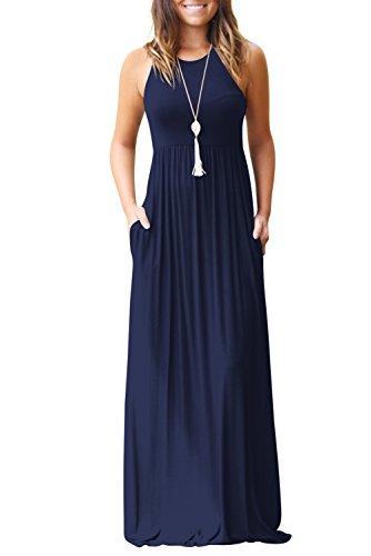 Bequemer Laden Sommerkleid Damen Rundkragen Ärmelloses Partykleid Casual Kleider mit Taschen Marineblau-2XL (Flowy Kleid Mit ärmeln)