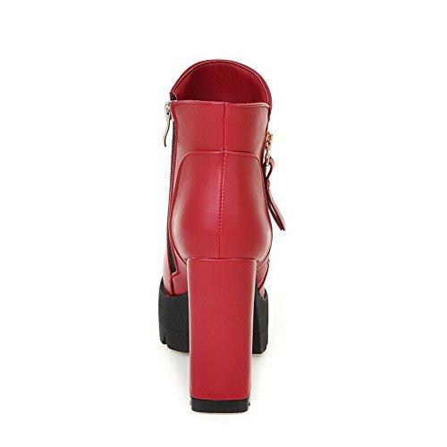 VogueZone009 Donna Luccichio Punta Tonda Piattaforma Bassa Altezza Puro Stivali Rosso