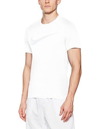 Nike M Nk Dry Contr Top Ss Gpx, Maglietta Da Corsa Uomo Bianco