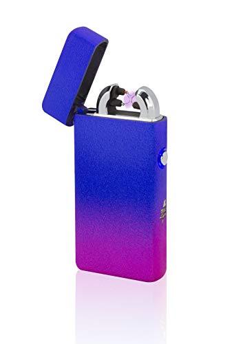 TESLA Lighter T08 Lichtbogen-Feuerzeug, elektronisches USB Feuerzeug, Double-Arc Lighter, wiederaufladbar, Mixed Blau