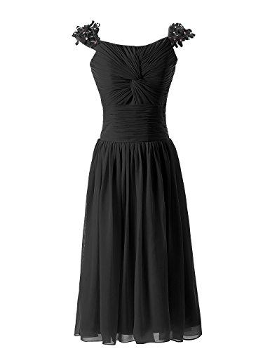 Dressystar Robe de demoiselle d'honneur courte plissée à bretelles couvertes de Nœuds Papillons Noir
