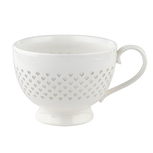 Cambridge cm05187 Spitze Polka Herzen Porzellan China Becher, Weiß Cambridge China