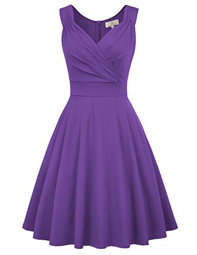 cocktailkleider Purpur Petticoat Kleid Damen Swing Kleid Knielang Polyester Kleider CL698-9 3XL -