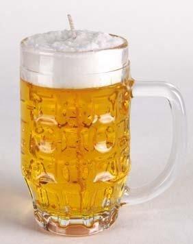 Kerze im Bierkrug 0,25 Liter. Kerze in Bierglas. Glas nach Reinigung als Bierglas benutzbar. Sieht täuschend echt