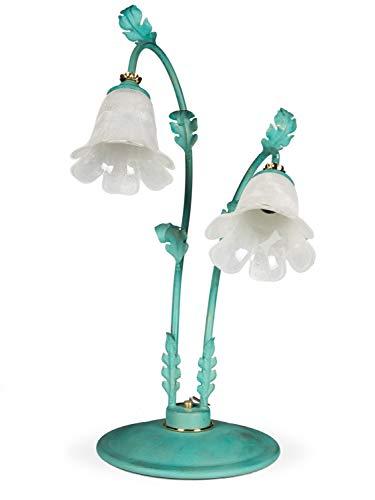 Jugendstil Eisen Floral (Helios Leuchten 454037 große Florentiner Tischleuchte grün | florale Lampe Leuchte Tischlampe Landhausstil | 2 x E14)