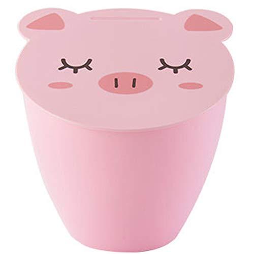 YJWOZ Cartoon Niedlichen Schwein Desktop Mülleimer Küchentisch Reinigung Eimer Wohnzimmer Kleine Mülleimer Mülleimer (Color : Pink)