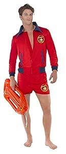 """Smiffys-20587L Licenciado Oficialmente Disfraz de Vigilante de la Playa de Baywatch, con Parte de Arriba y bermud, Color Rojo, L - Tamaño 42""""-44"""" (Smiffy"""