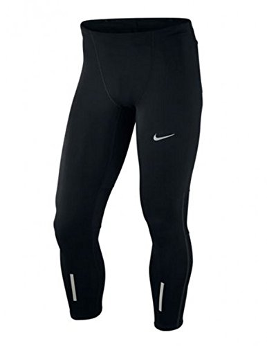 Nike Herren Lauftights Tech Tights, Black/Reflective Silver, XL -