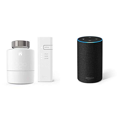 Echo tessuto antracite + Tado° Testa Termostatica Intelligente Kit di Base V3+ - Gestione intelligente del riscaldamento, compatibile con Amazon Alexa, Apple HomeKit, Assistente Google, IFTTT