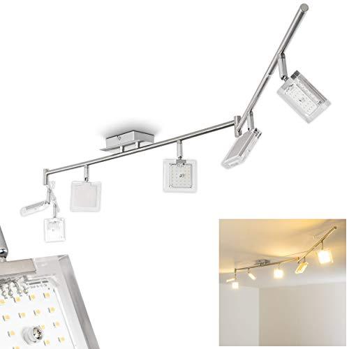 6 Leuchten (LED Deckenspot 6-flammig Kiruna aus Metall in Chrom/Nickel matt - Deckenstrahler mit verstellbaren Leuchtenköpfen - moderne Wohnzimmerlampe, Deckenlampe für die Küche und Flur Deckenleuchte - 3000 K)
