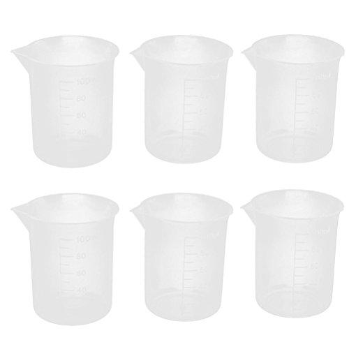 UEETEK 6 stücke 100 ml Messbecher Kunststoff Graduierung Becher Labor Flüssigkeitsbehälter
