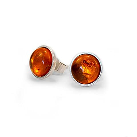 Amber Stud Earrings, Sterling Silver, 8 mm natural gemstone