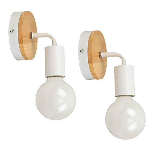 OYGROUP Moderno creativo de madera Vintage lámpara de pared de hierro forjado E27 40W de montaje en pared lámpara de cabecera de luz de lectura para dormitorio Salón (blanco)
