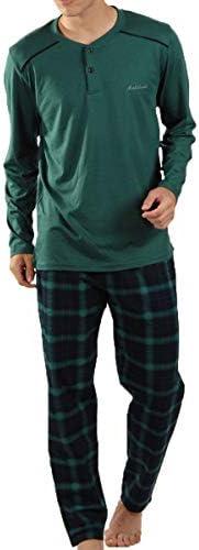 Malabadi Erkek Pijama Takımı Ekoseli Uzun Kollu Düğmeli Yaka 6015