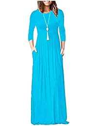 ac444c95eb90 Papaval Women s Short Sleeve Casual Loose Plain Maxi Dresses with Pockets