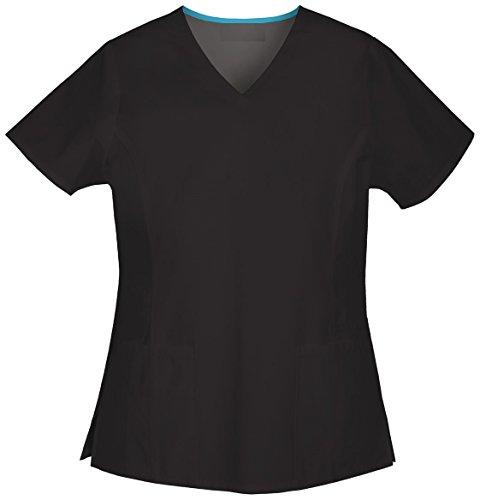 Smart Uniform Women's Stretch Twill V-Neck Top 7604 (L, Schwarz [Black]) (Baumwoll-stretch-uniform)