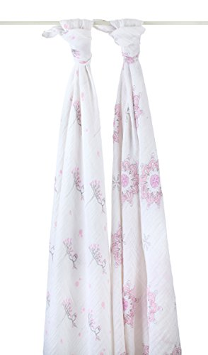 aden + anais 4027G Classic Swaddle For The Birds - Medalions plus Owls, 2er pack
