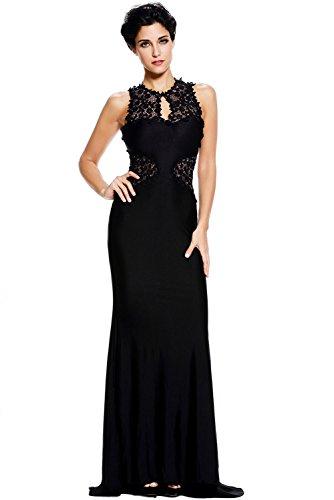 NICE BUY Öffnen Sie zurück feines Blumen Maxi Hochzeits Prom Cocktail Kleid Abend kleider Schwarz