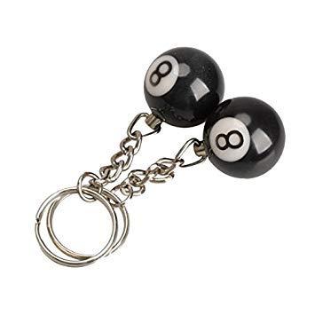 Llavero - TOOGOO(R)2 x Llavero de bola de billar Anillo de llave Felicidad Numero 8
