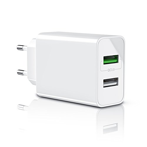 Aplic - 30w caricabatterie da muro | quick charge 3.0 alimentatore parete usb con 2 porte | adattatore di ricarica rapida | tecnologia smart charge | caricatore usb per samsung galaxy s8 / s8+ / note 8, lg g5 / g6, nexus 5x / 6p, htc 10, iphone x / 8 / 8 plus, ipad pro / air ecc | bianco