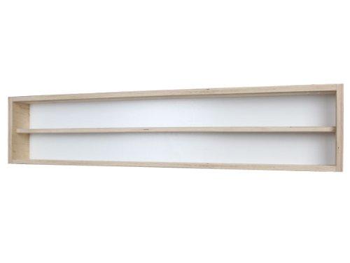 V110.2- Vitrine murale 110 cm x 20 cm x 8,5 cm collection Décoration murale- tapisserie rouleau -Rayonnages de jouets Atelier du Père Noël miniature moto collecteur dé à coudre tableau d'affichage train pion petit objet jouet enfant mini nain de jardin schtroumpf vitres en plexiglas clair meuble rangement étagère armoire placard bois nature petite bouteille
