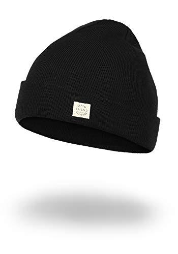 Blend Scam Herren Wintermütze Beanie Mütze Unisex Mit Logobadge, Größe:ONE SIZE, Farbe:Black (70155)