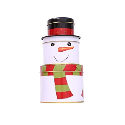 AchidistviQ Geschenk-Box für Süßigkeiten, 3-lagig, leer, Weihnachtsmann, Schneemann, Süßigkeiten, Dekoration, wiederverwendbar, helle Farbe, leichte Dose, Süßigkeiten-Dose, Keks-Box, Metall, Snowman