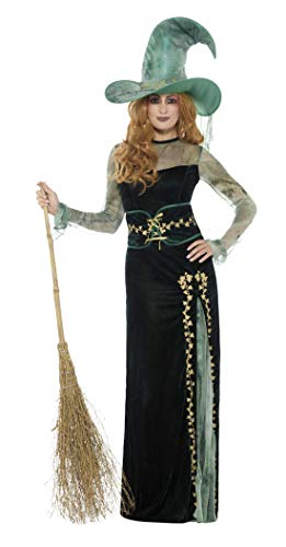 Kleid Hexe Kostüm - Smiffys Damen Deluxe Smaragd Hexen Kostüm, Kleid, Gürtel und Hut, Größe: 36-38, 45111
