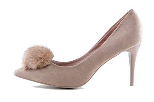 MZN Zapato de Tacon Rosa Nude con Pompón de Pelo (40)
