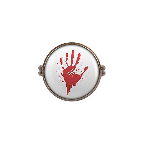 Kostüm Cia Agent - Mylery Ring mit Motiv Hand-Abdruck Blut Rot Hand Bronze 16mm