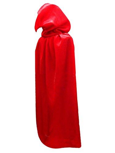 Damen Herren Halloween Umhang Karneval Fasching Kostüm Cape mit Kapuze Rot (Karneval Cape)