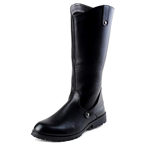 SHANLY Mens Fashion Ritter Stiefel PU Leder Zurück Zip Wellington Boot Film Kostümzubehör Kalb Boot Film Kostüm Zubehör Halloween Cosplay,Black-42
