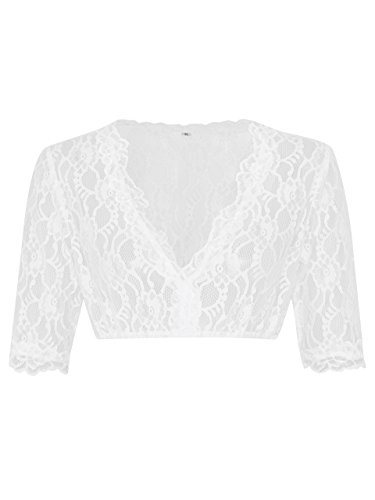 Schöneberger Trachten Couture Elegante & Exklusive Dirndlbluse aus Spitze Weiss/Transparent - Dirndl Bluse Windrose (44, Weiss)