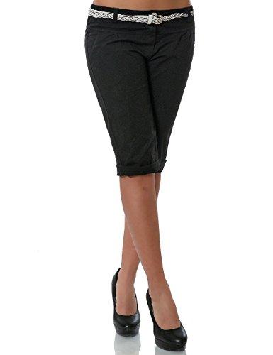 Damen Chino Capri Hose inkl. Gürtel (weitere Farben) No 13934, Farbe:Schwarz;Größe:42 / XL