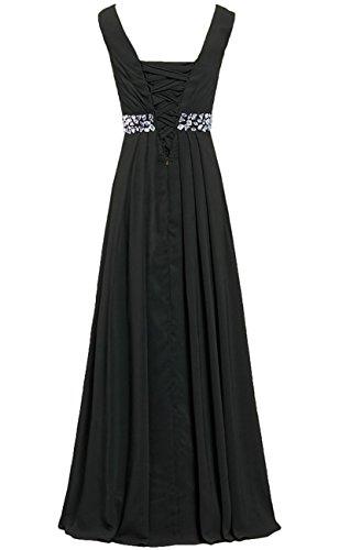 HWAN Frauen Aline V-Ausschnitt Kleider lange plissierte Chiffon Brautjunferkleid-Abend Schwarz