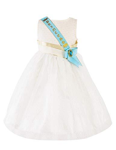 IKALI Prinzessin Kostüm Mädchen Kleider, Kinder Stickerei Gänseblümchen ärmelloses Tüll Rock Mit Glitzerüberlagerung Spitze