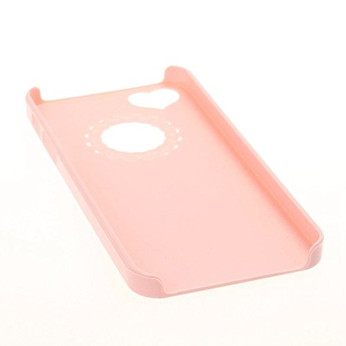 Wkae Case & Cover protection en plastique gravure fleur pour iphone 5 &5 &se ( Color : Black ) Pink