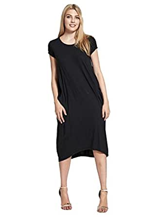 Elum 174 Womens Plain Cap Sleeves Side Pocket Loose Fit Midi