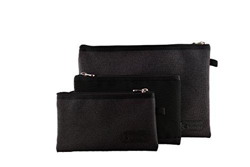 Organizer Set. 3 sacchetti portatili per organizzare dispositivi elettronici, accessori da viaggio, cosmetica, penne e matite. Misura piccolo /medio /grande. Progettato in Italia da NutKase