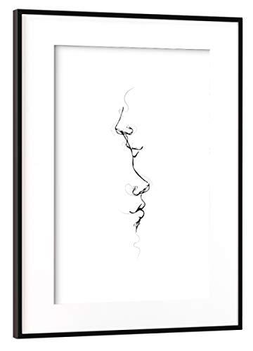 Metallic Kiss (artboxONE Poster mit Rahmen Schwarz (Metallic) 30x20 cm Kiss me by Your Heart von Nordic Creators - gerahmtes Poster)