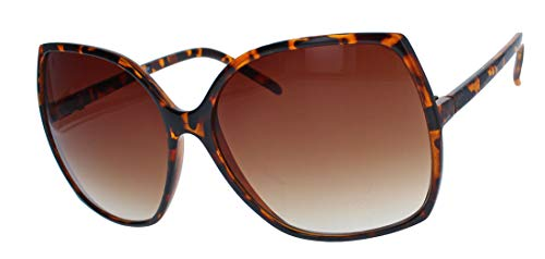 Große Damen Retro Sonnenbrille Vintage Butterfly Stil 60er 70er Jahre JK84 (Hornbrille/Braun)