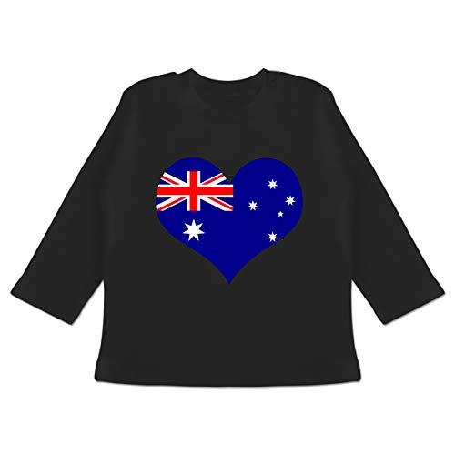 by - Herz Australien - 12-18 Monate - Schwarz - BZ11 - Baby T-Shirt Langarm ()